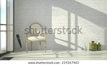 white entrance area interior with brick wall and vintage chair - stock photo