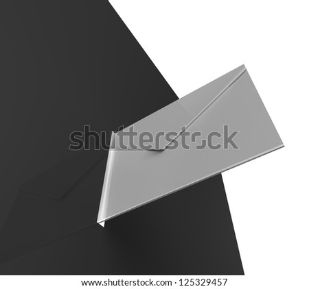 White envelope going into a shiny black box - stock photo