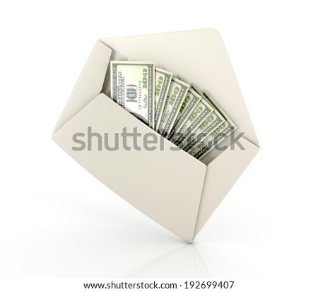 white envelope with money - dollar banknotes. 3d illustration isolated on white background - stock photo