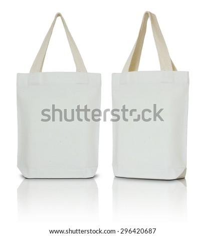 white fabric bag on white background - stock photo