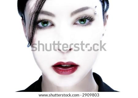 white face of black wonder lady - stock photo