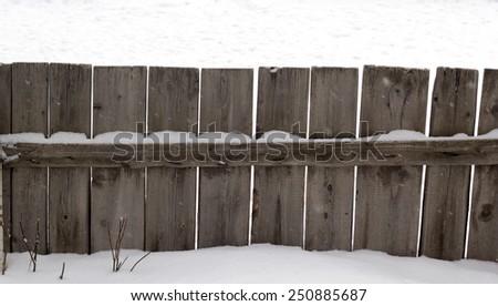 white fence on the snow - stock photo
