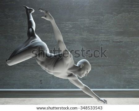 White figure reaching - stock photo