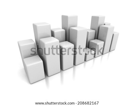 white financial bar chart graph. business 3d render illustration - stock photo
