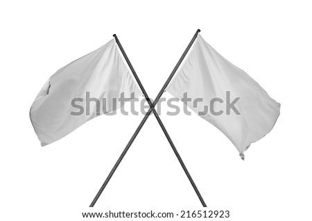 white flag. Two blank and cleared white flags crossed. Crossed white flags isolated on white. - stock photo