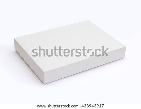 White flat pasteboard box isolated on white background with original shadow with clipping path - stock photo