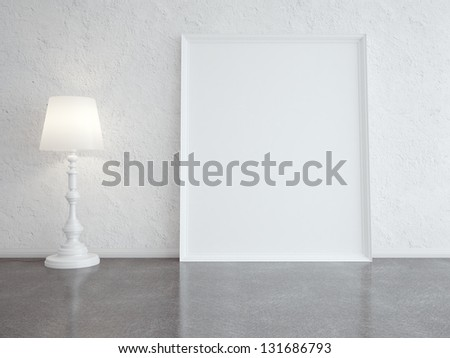 white floor lamp and frame in room - stock photo