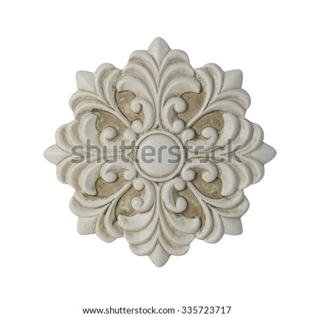 White floral decorative medallion - path included - stock photo