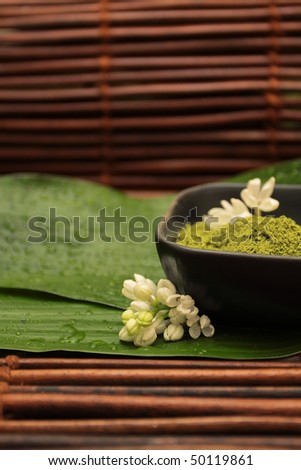 White flowers against the background of spa mud, green leaf and brown mat - stock photo