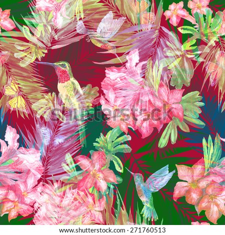White flowers pattern on dark background. Layering floral pattern tropical flowers Rhododendron and blossoming branch on a palm leaves - stock photo