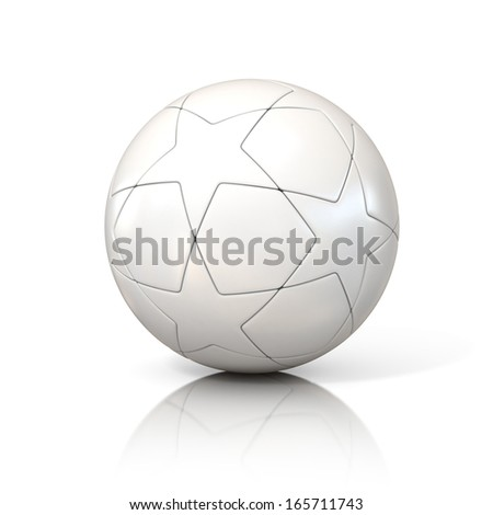 white football - soccer ball with star pattern isolated on white - stock photo