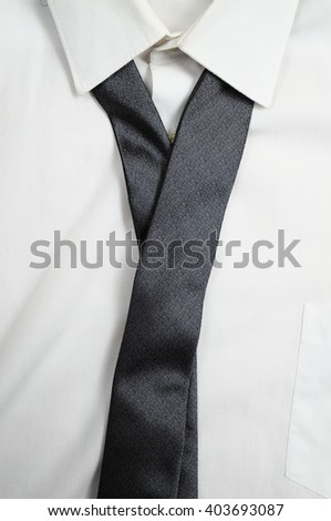 White formal shirt with black tie. Fashion and executive attire - stock photo