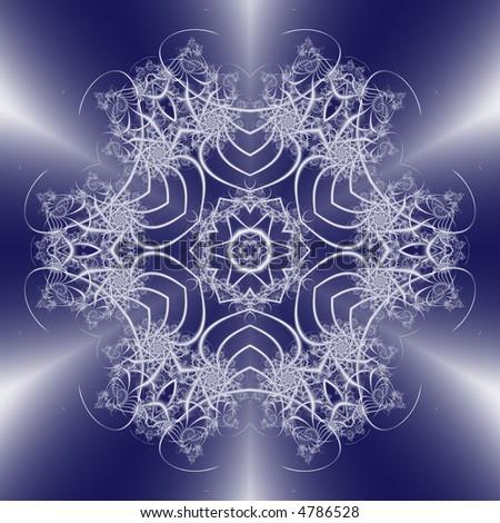 white fractal snowflake on blue gradient background - stock photo