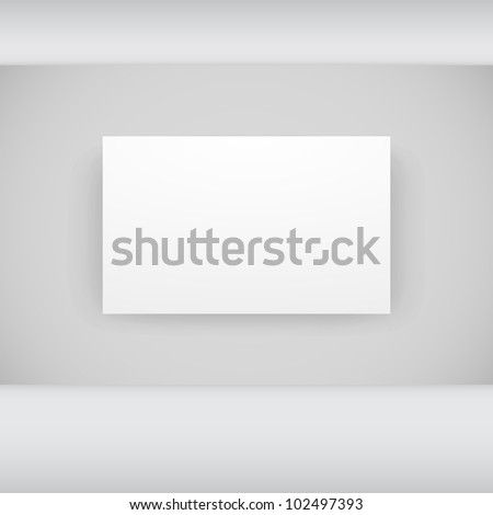 White frame in gallery room interior background - stock photo
