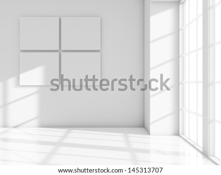 White frames on white room - stock photo
