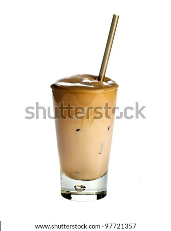 White Frappe Coffee isolated on white background - stock photo