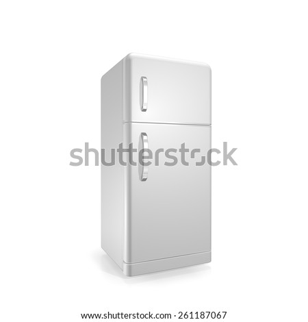 white  fridge on a white background - stock photo