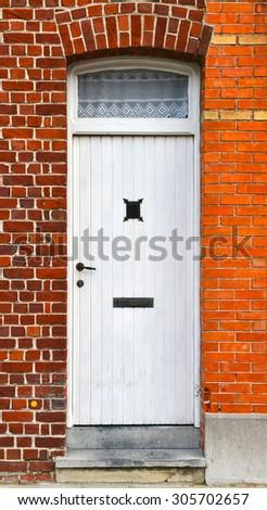 White front door - stock photo