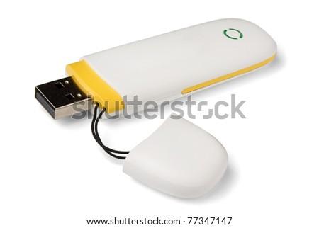 White 3g usb wireless mobile modem  isolated on white - stock photo