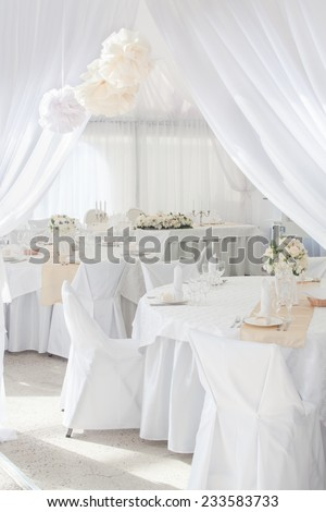 White gala interior for wedding ceremony - stock photo