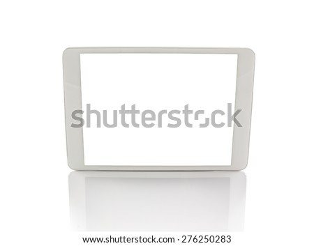 White generic tablet computer (tablet pc without camera) on white background. Modern portable touch pad device with white screen. - stock photo