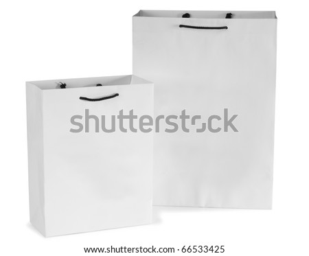 White gift bag. Isolated - stock photo