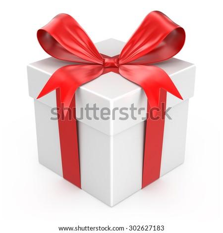 White gift box, isolated on white - stock photo