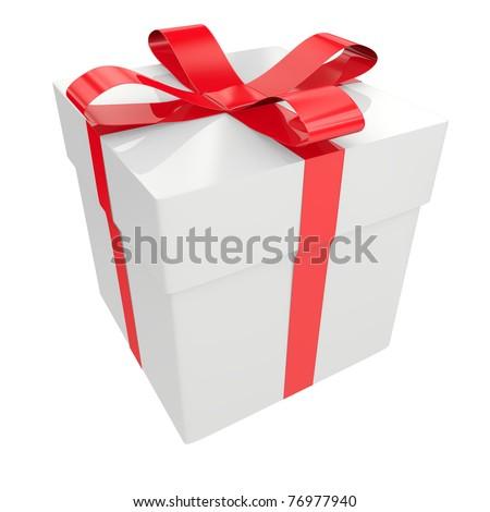 White gift box isolated on white background - stock photo