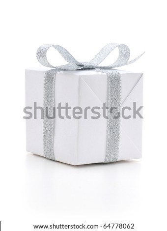 White gift box with a silver bow on white background - stock photo