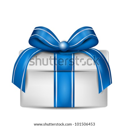 White Gift Box with Blue Ribbon Isolated on White - stock photo