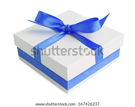 White gift box with blue satin ribbon bow, isolated on white - stock photo