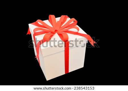 White Gift Box with Red Ribbon with Clipping path - stock photo