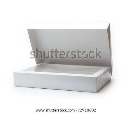 White gift box with transparent inner lid, often used in department stores. Isolated on white. - stock photo