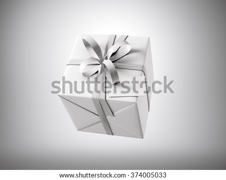 White gift box with white ribbon bow and blank business card, isolated on gray, horizontal. 3d render - stock photo