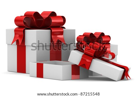 White gift boxes. Isolated 3D image - stock photo