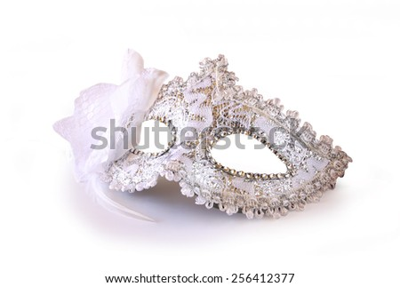 white glamor carnival mask isolated on white  - stock photo