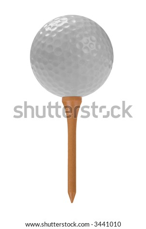 white Golf ball close-up on tee isolated over a white background - stock photo