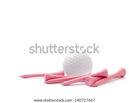 White Golf Ball with Pink Tees on White Background - stock photo