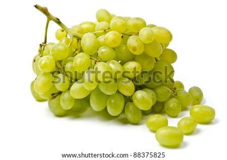 White grape  isolated on the white background - stock photo
