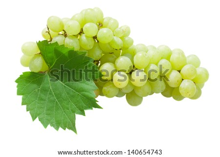 White grapes with leaves isolated on white background - stock photo