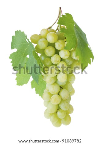 White grapes with leaves. Isolated on white background - stock photo