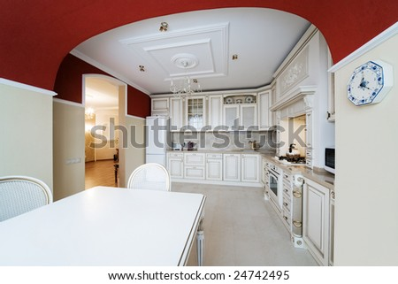 White greater kitchen in a modern apartment - stock photo