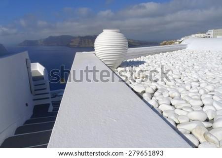 white greek amfora of Santorini island, Greece - stock photo
