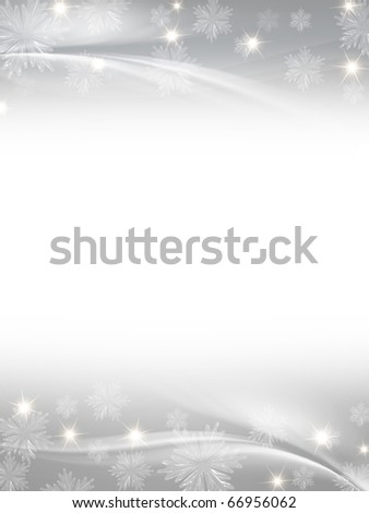 white grey christmas background with crystal snowflakes, stars and curves - stock photo