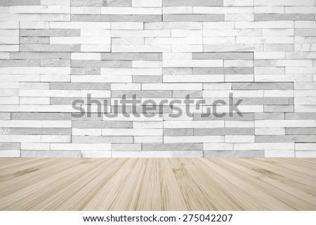 White grey colour brick tile textured wall with wood floor in light beige cream color tone for in interiors   - stock photo