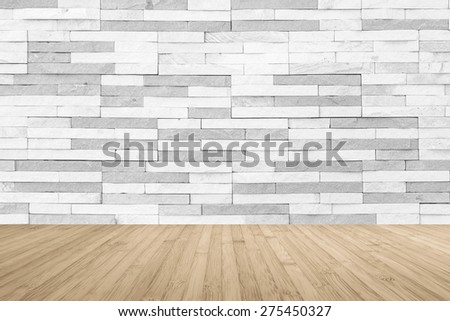 White grey two-tone -color brick tile wall with wooden floor in sepia antique brown color tone for interior background     - stock photo