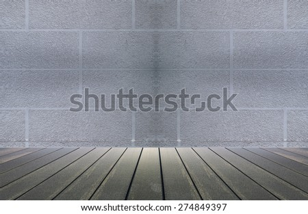 white grunge cement wall and white wood floor  - stock photo