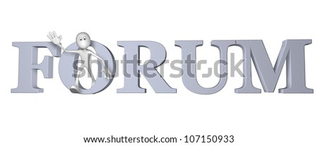 white guy and the word forum - 3d illustration - stock photo