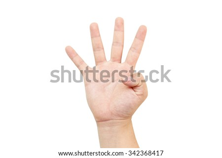 White hand holds four-stroke four numbers symbol hand. point hold carry shape form time lasting bottom finally center filming peace buy set arm left sign male price male right money offer loan down - stock photo
