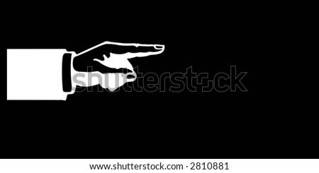 White hand pointing. - stock photo